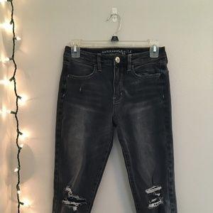 AE Gray Super Stretch Skinny Jeans